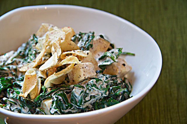 Saag Paneer with Fried Garlic - The Messy Baker