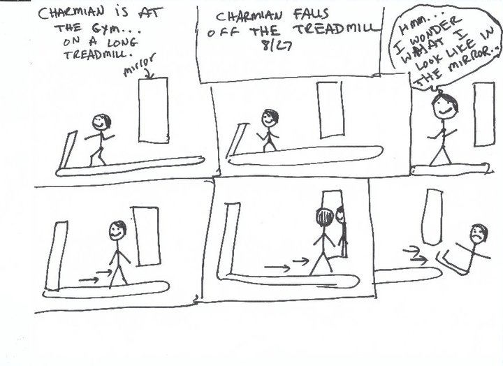 Jody Mace draws my dream in which I fall off the treadmill.