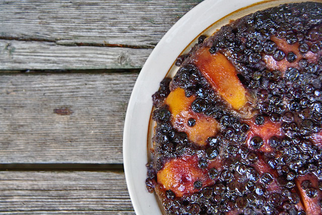 Peach & Blueberry Upside-Down Cake - The Messy Baker