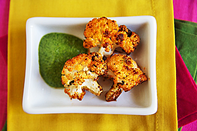Spicy Roasted Cauliflower with Cilantro Dipping Sauce - The Messy Baker