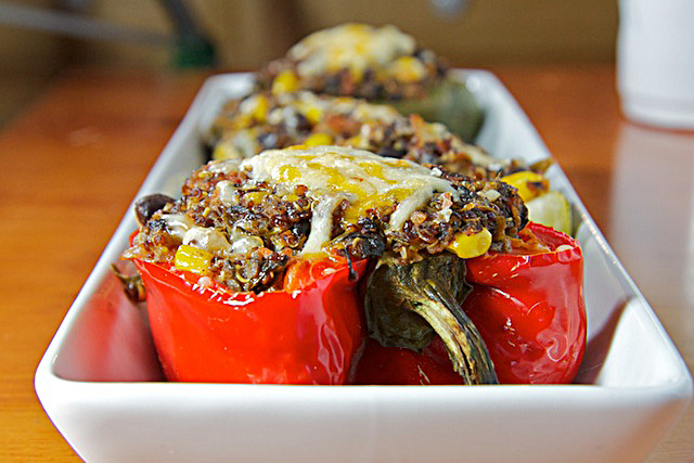 Spicy Quinoa-Stuffed Peppers - TheMessyBaker.com