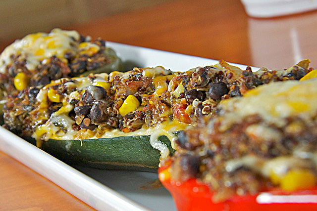 Quinoa-Stuffed Peppers and Stuffed Zucchini - TheMessyBake.com