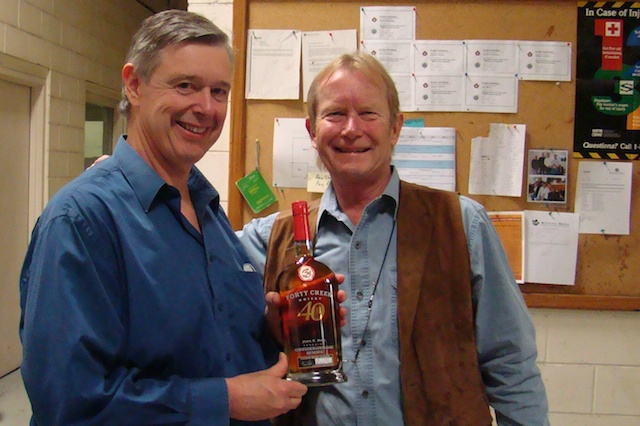 Andrew and John Hall with a signed and numbered bottle of Forty Creek
