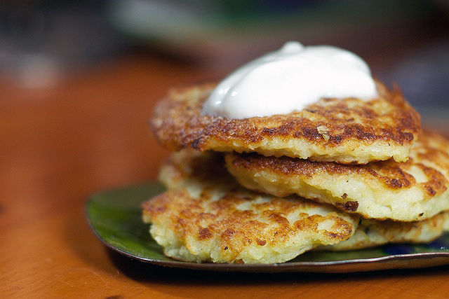 Potato Latkes, stacked -- TheMessyBaker.com