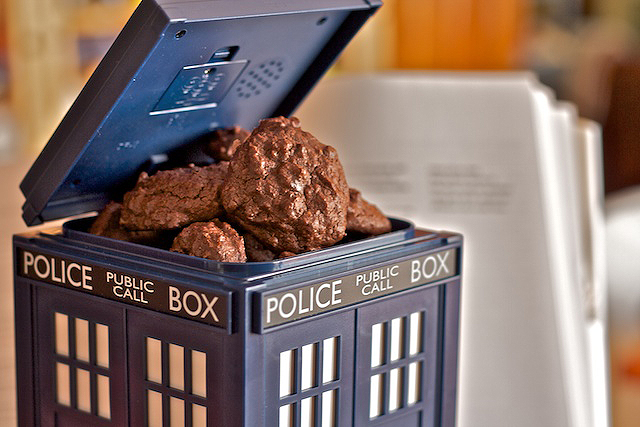 Triple-Chocolate Brownie Cookies are worthy of my TARDIS cookie jar. Made with love and wibbly-wobbly-timey-wimey care by TheMessyBaker.com