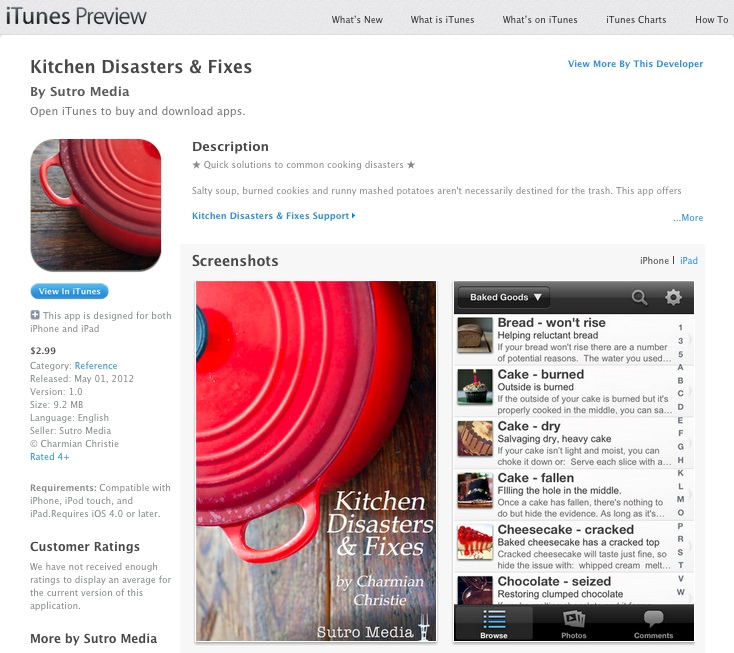 Kitchen Disasters & Fixes App by The Messy Baker