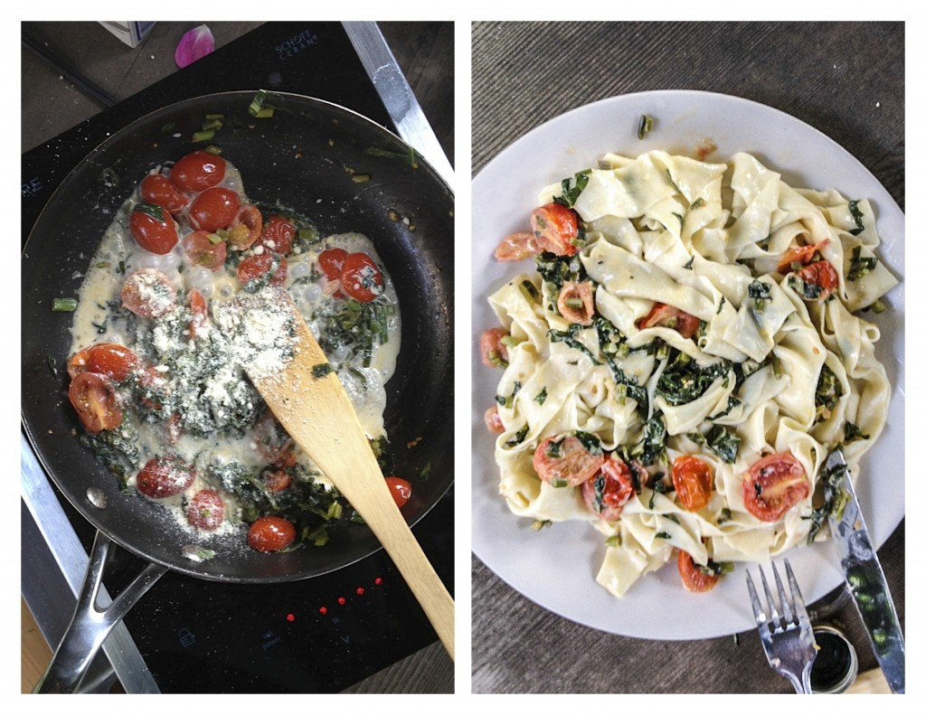 Garden Greens Pasta with Tomatoes - TheMessyBaker.com