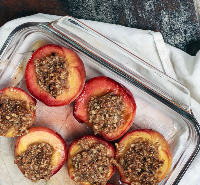 Hazelnut-Stuffed Baked Peaches - TheMessyBaker.com