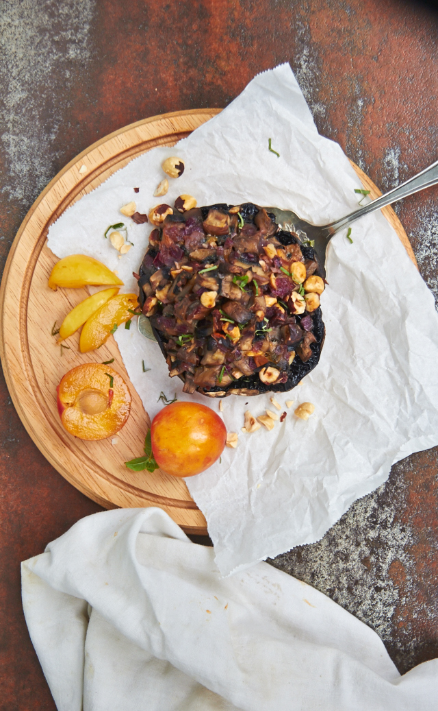 Stuffed Mushrooms with Plums and Hazelnuts — TheMessyBaker