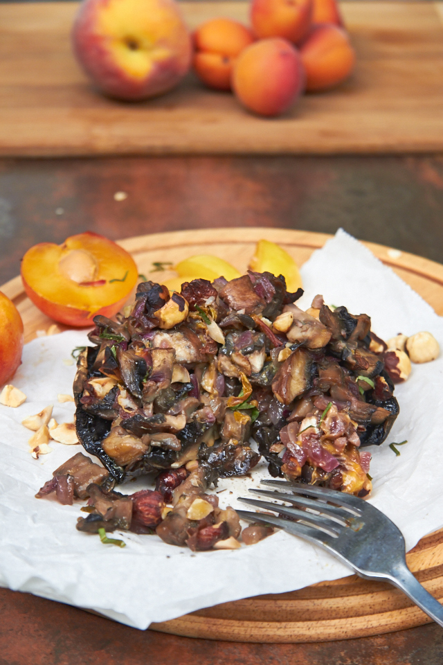 Stuffed Mushrooms with Plums and Hazelnuts - TheMessyBaker.com