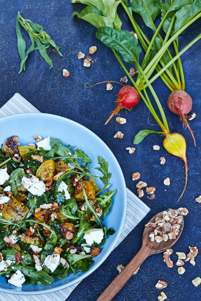 Roasted Golden Beet Salad with Arugula, Walnuts and Chever - TheMessyBaker