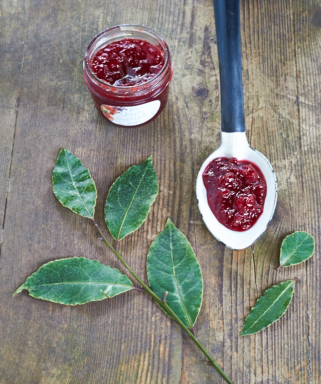 Currant Sour Cherry Jam infused with a bay leaf - TheMessyBaker.com