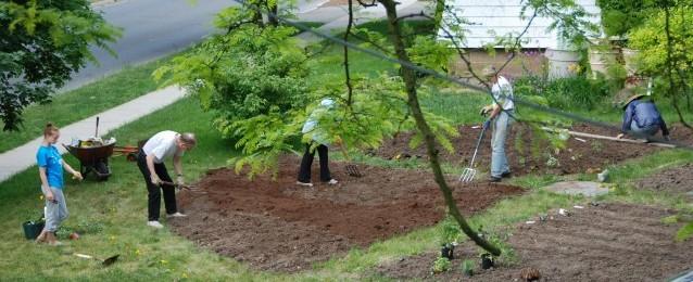 My family plants the vegetable garden