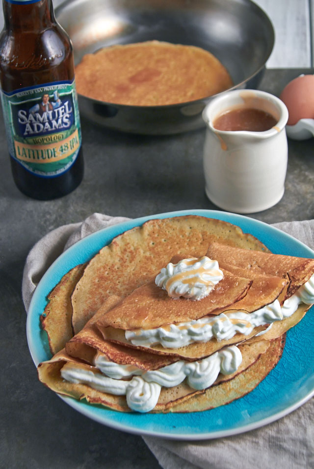 Beer Batter Orange Crepes with Beer Caramel Sauce