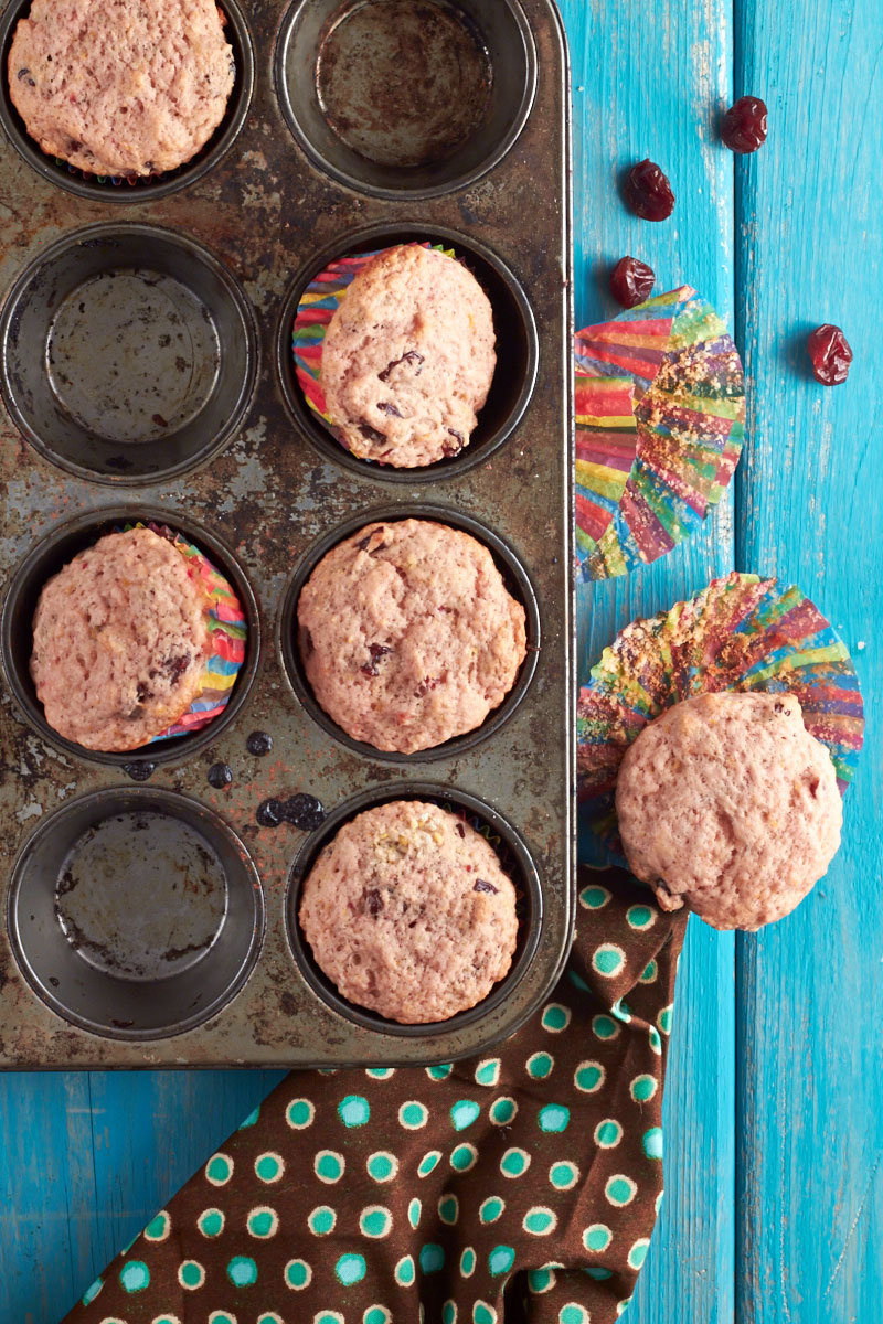 Blood Orange and Cherry Muffins by The Messy Baker.