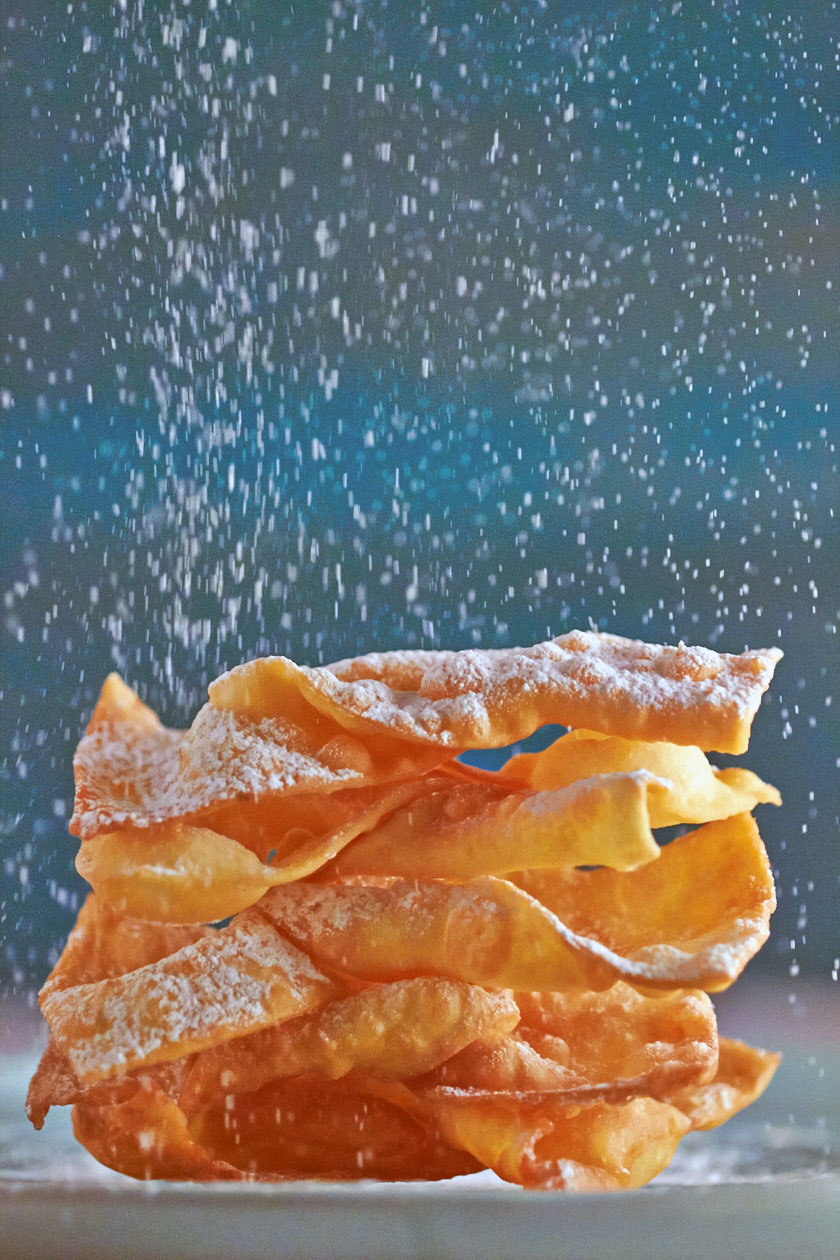 Crostoli dusted with icing sugar