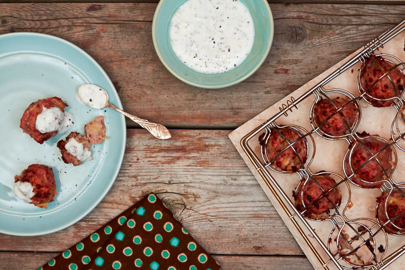 Italian Turkey Meatballs with Yogurt Sauce