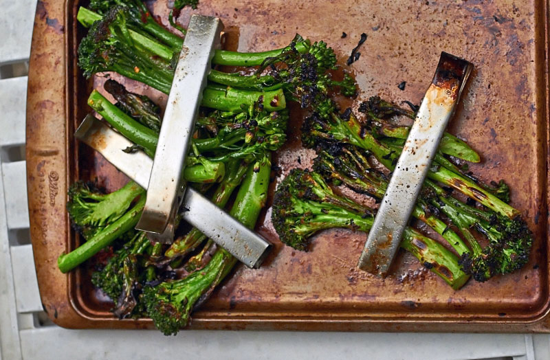 Spicy Grilled Broccolini hot off the grill.