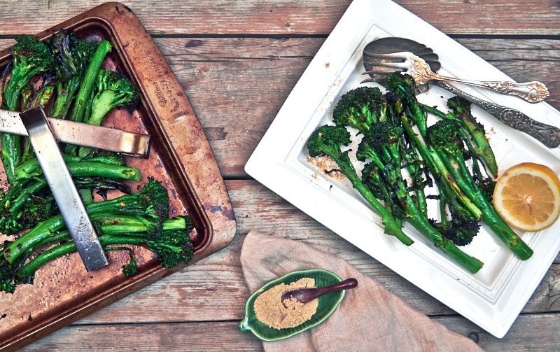 Spicy Grilled Broccolini done on the grill and finished with chat ...