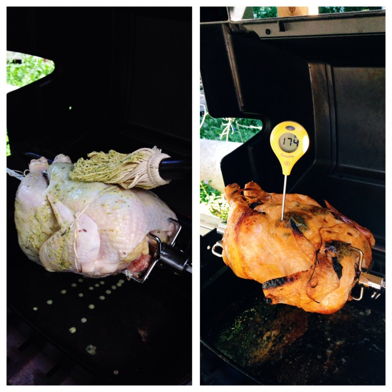 Herbed Rotisserie Chicken on the grill. Basting with the motor on. Checking temperature with the motor off.
