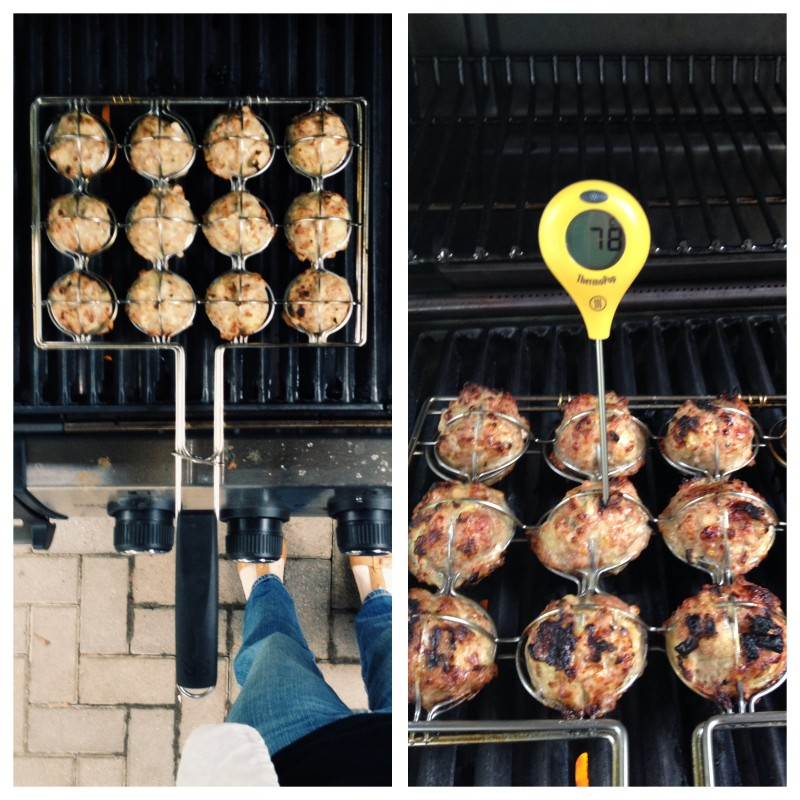 Cooking Italian Turkey Meatballs on the grill