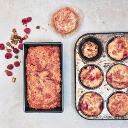 Rhubarb-Raspberry Loaf and Muffins by The Messy Baker