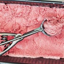 Rhubarb-raspberry ice cream by The Messy Baker/