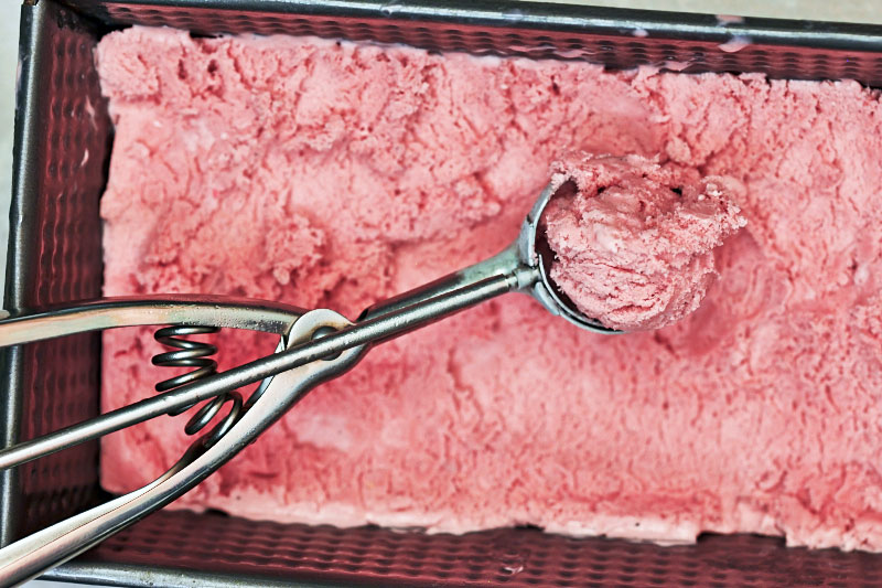 Rhubarb-raspberry ice cream by The Messy Baker/