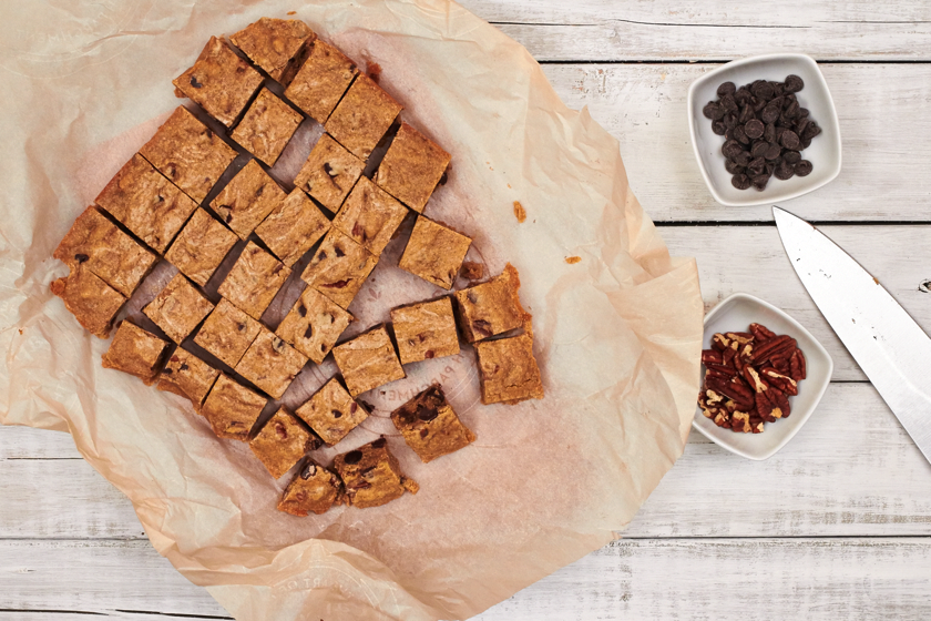 Bourbon Blondies with Pecans and Chocolate Chunks