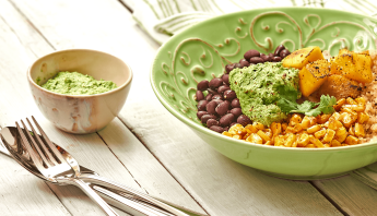 Whole Bowls with Smoky Corn, Black Bean and Cilantro Jalapeno Pesto