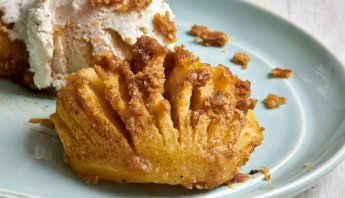 Streusel-Topped Hasselback Apples by The Messy Baker