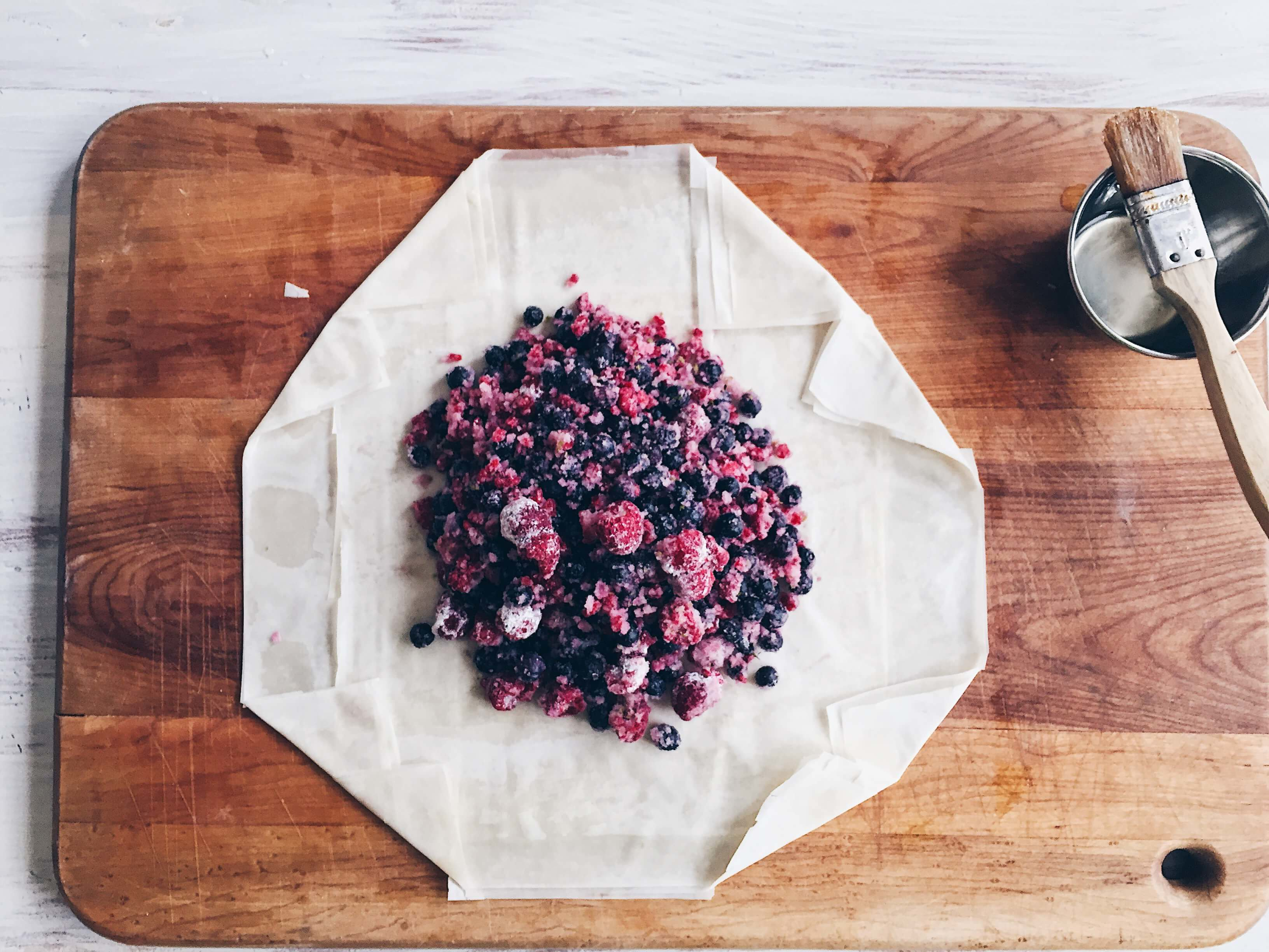 Mixed Berry Phyllo Galette with folded corners by The Messy Baker