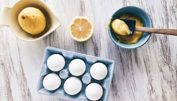 The makings of homemade yolk-only lemon curd by The Messy Baker
