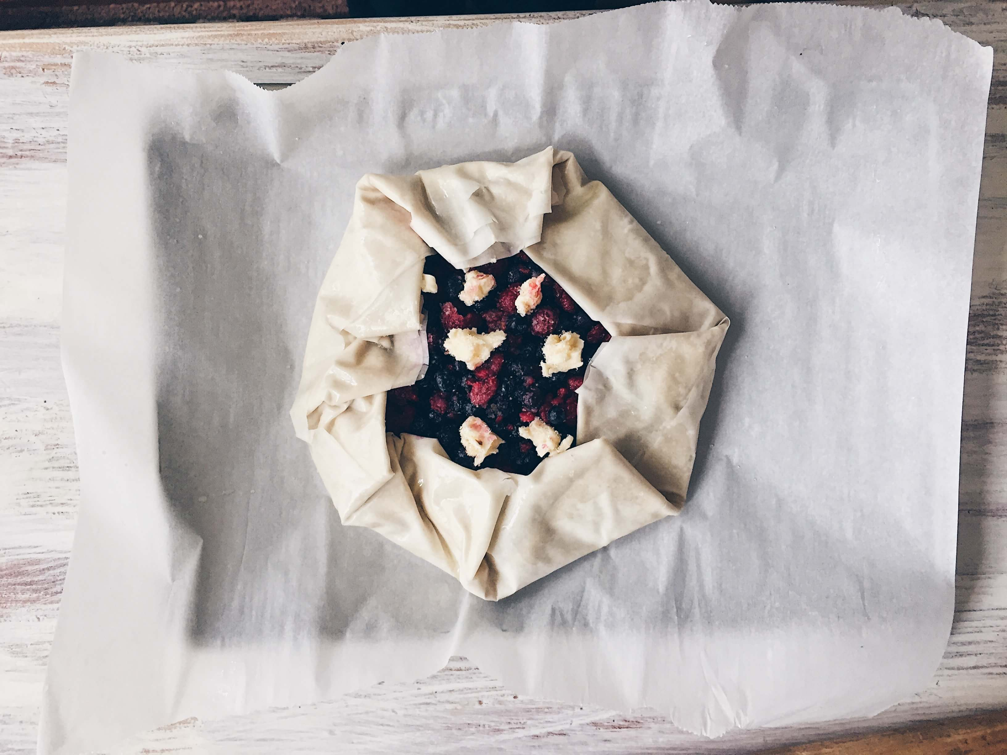 Mixed Berry Phyllo Galette folded. By The Messy Baker