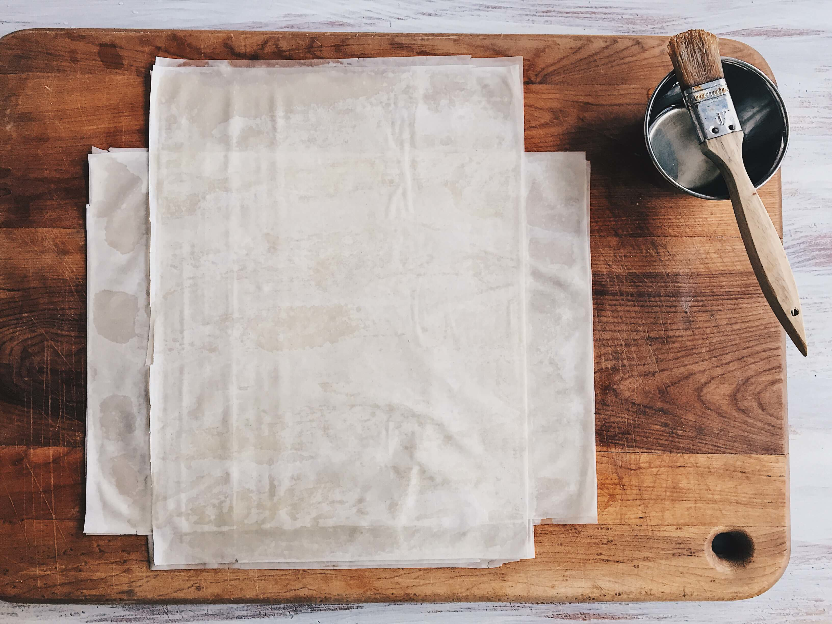 Preparing phyllo for Mixed Berry Phyllo Galette by The Messy Baker