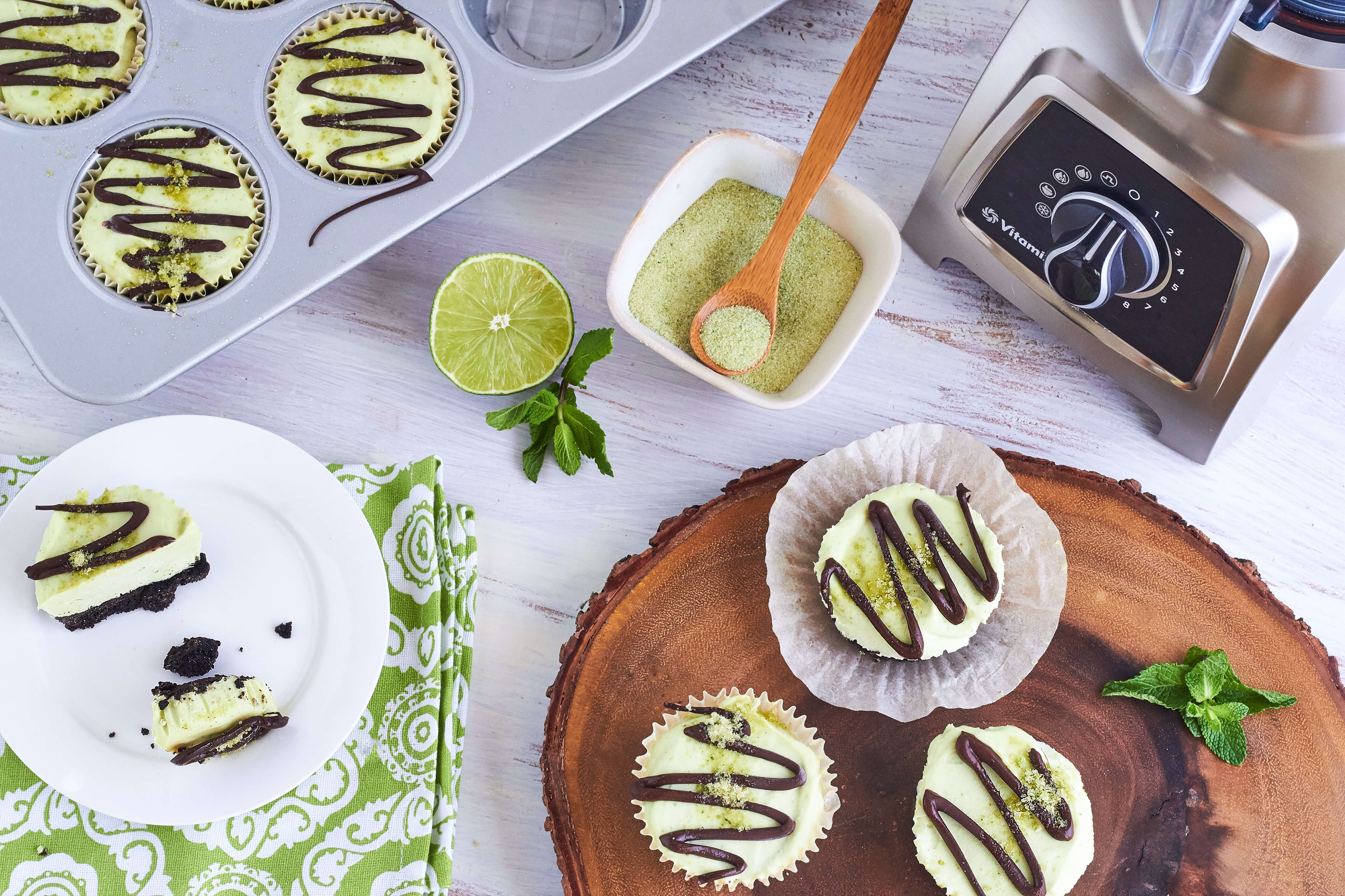 Mini Lime-Mint Cheesecakes by The Messy Baker