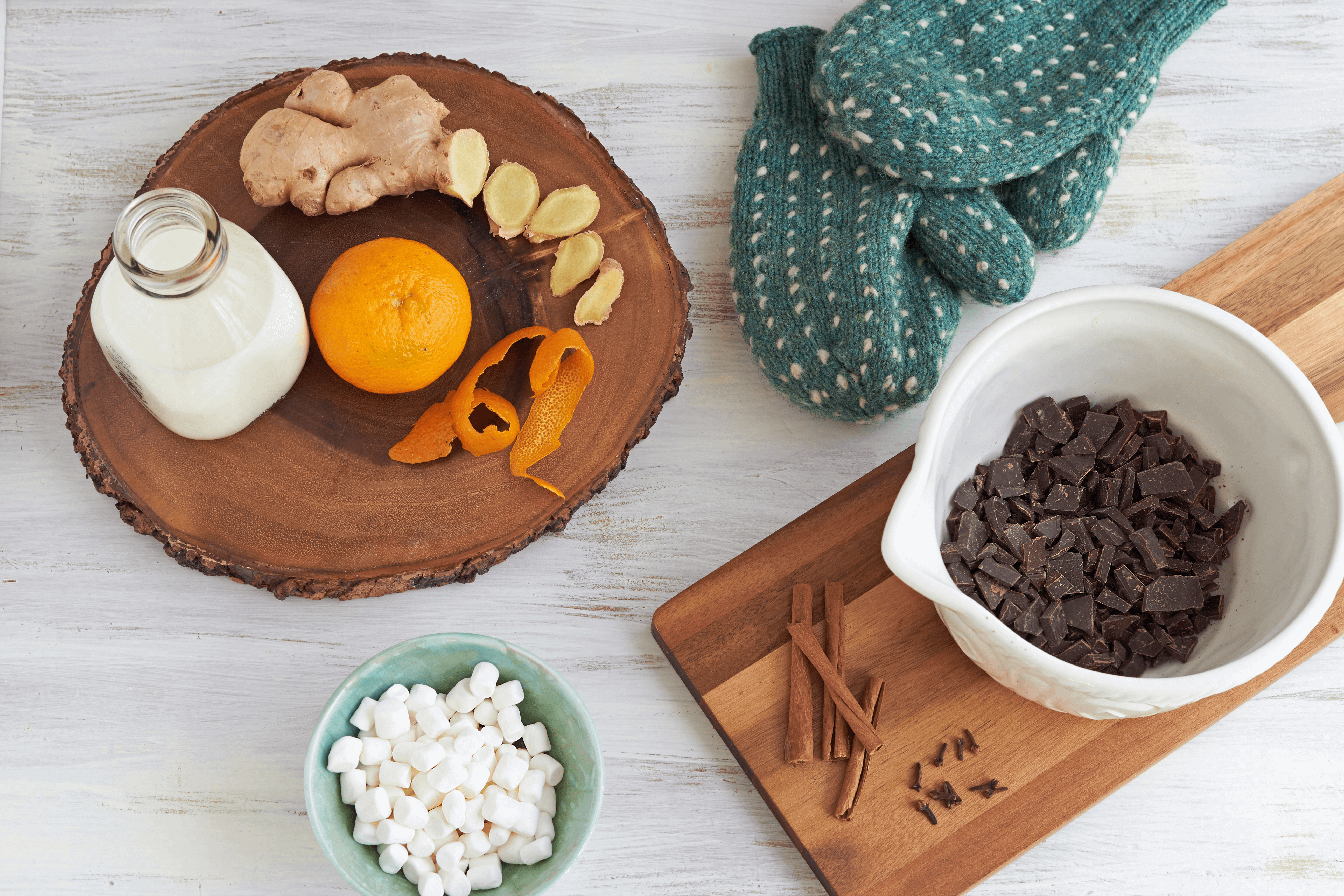 Milk, spices, and chocolate for The Messy Baker Christmas Spiced Hot Chocolate